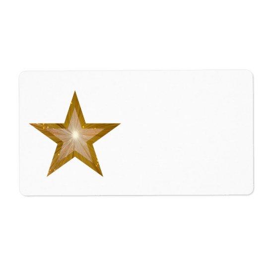 """Gold"" Star label large white plain"