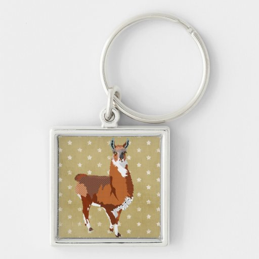 Gold Star Llama Keychain