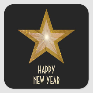 Gold Star New Year s Day square sticker black