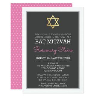 GOLD STAR OF DAVID bat mitzvah modern grey pink 13 Cm X 18 Cm Invitation Card