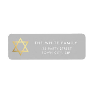 GOLD STAR OF DAVID modern plain simple gray white Return Address Label