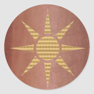 Gold Star on Exotic Copper Round Sticker