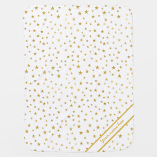 Gold Star on White Baby Blanket with name