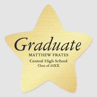 Gold Star Personalized Graduation Sticker