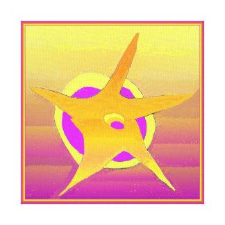Gold Star Purple Night Abstract Art Canvas Print