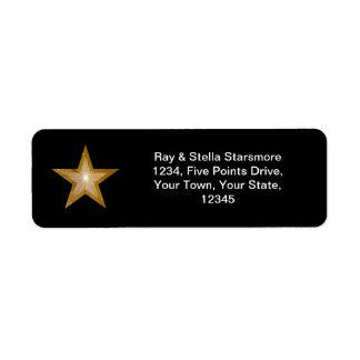 Gold Star return address label black