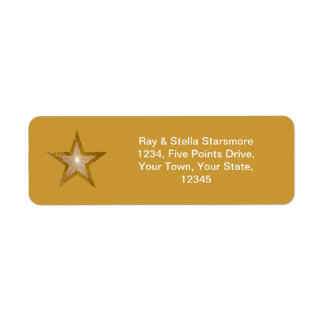 Gold Star return address label gold