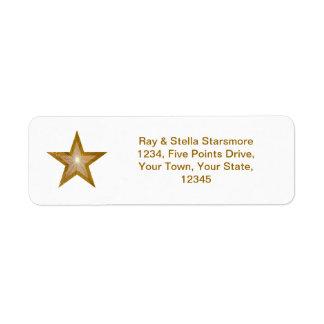 Gold Star return address label white