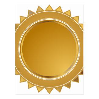 Gold Star Seal Medal Postcard