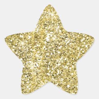 Gold Star Shape Faux Glitter Stickers