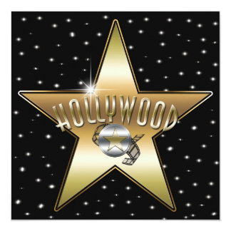 Gold Star Silver Old Hollywood Sparkle Invitation