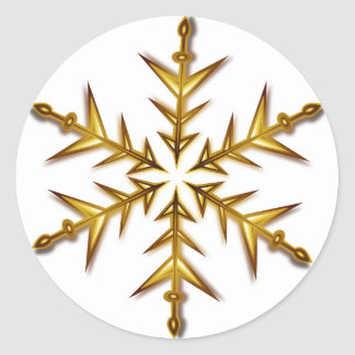 Gold Star Snowflake Sticker