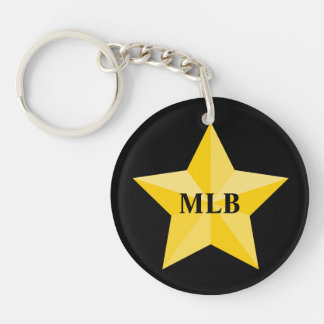 Gold Star with monogram or name Single-Sided Round Acrylic Key Ring