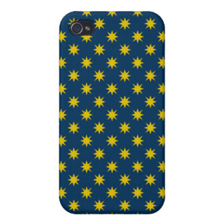 Gold Star with Navy Background Covers For iPhone 4
