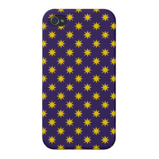Gold Star with Royal Purple Background iPhone 4 Case