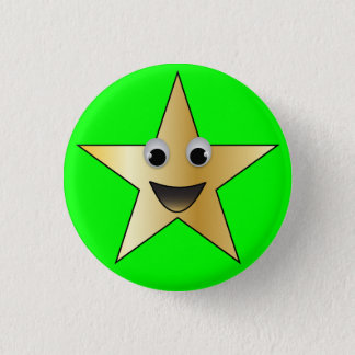 Gold Star with Smiling Face 3 Cm Round Badge