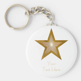 Gold Star 'Your Text' keychain white