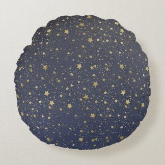 Gold Stardust Stars Round Cushion