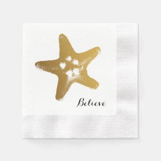 Gold Starfish Paper Napkin