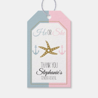 Gold Starfish with Pink, Blue Anchor Gender Reveal Gift Tags