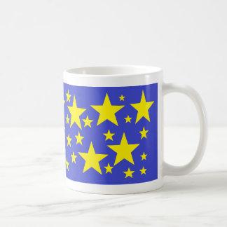 Gold Stars A-Scatter on Blue Mug
