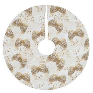Gold Stars and Angel Wings Tree Skirt