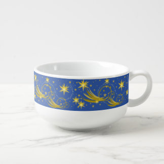 Gold Stars and Comets Space Galaxy Soup Bowl