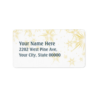Gold Stars Christmas Return Address label