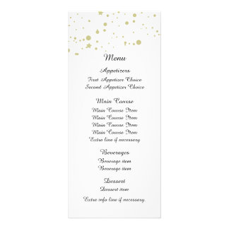 Gold Stars Confetti White Wedding Menu Customised Rack Card