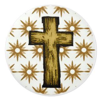 Gold Stars & Cross on White Ceramic Pull