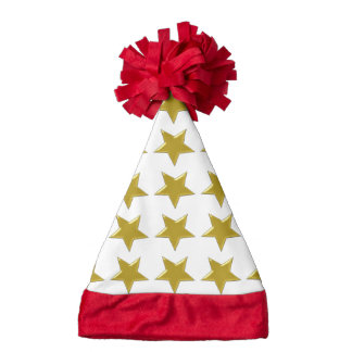 Gold Stars Santa Hat