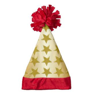Gold Stars Gold Coloured Santa Hat