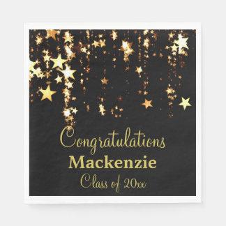 Gold Stars Graduation Paper Napkin