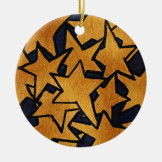 Gold Stars Hand-Painted Pattern Ceramic Ornament
