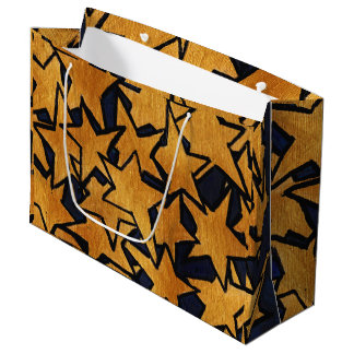 Gold Stars Hand-Painted Pattern Large Gift Bag