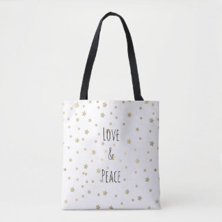 Gold Stars Love and Peace Tote Bag