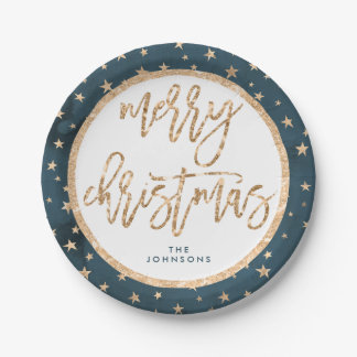 Gold Stars Merry Christmas Paper Plates Midnight