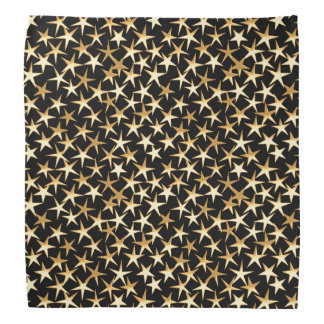 Gold stars on a black background bandana