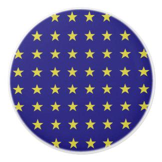 Gold Stars on Blue Background EU Colors Pattern Ceramic Knob