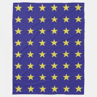 Gold Stars on Blue Background EU Colors Pattern Fleece Blanket