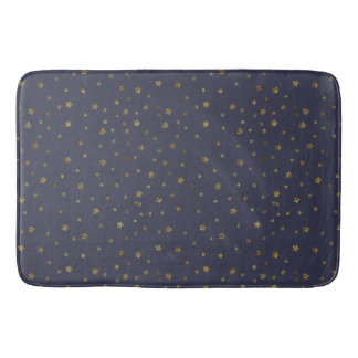 Gold Stars on Navy Blue Bath Mat