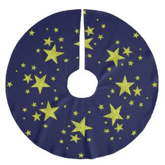 gold stars on night sky christmas tree skirt