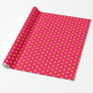 Gold Stars on Red Glossy Wrapping Paper