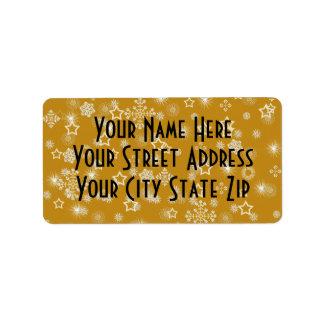Gold Stars Pattern Return Address Labels