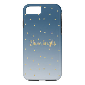 Gold Stars Shine Bright Blue Ombre iPhone 8/7 Case