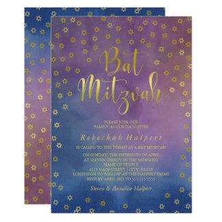 Gold Stars Watercolor Bat Mitzvah Card