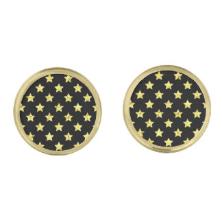 Gold Stars Your Background Color Gold Finish Cufflinks