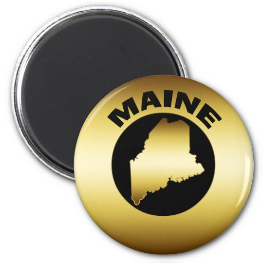 GOLD STATE OF MAINE MAGNET
