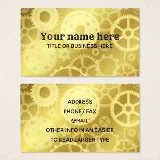 Gold steampunk gears business card