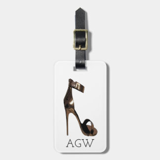 Gold stiletto sandles with your monogram luggage tag